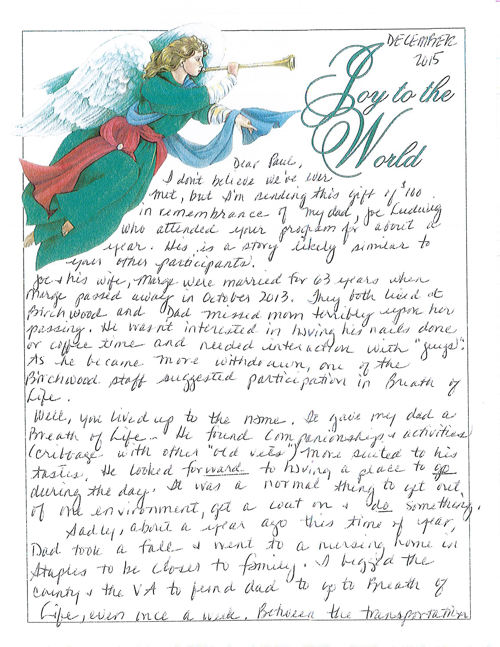 Picture of letter written by daughter of man who used Breath of Life Adult Day Service