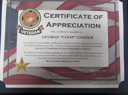 Picture of United States Marine Corps Certificate of Appreciation for George Cooper